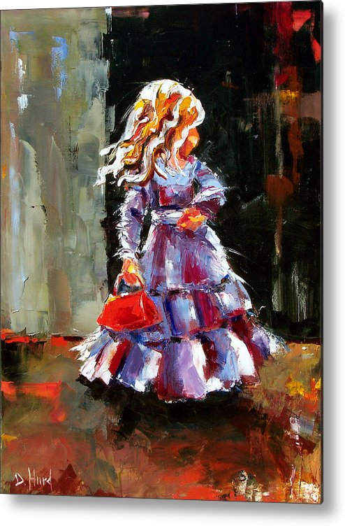 Girl Metal Print featuring the painting Little Red Purse by Debra Hurd