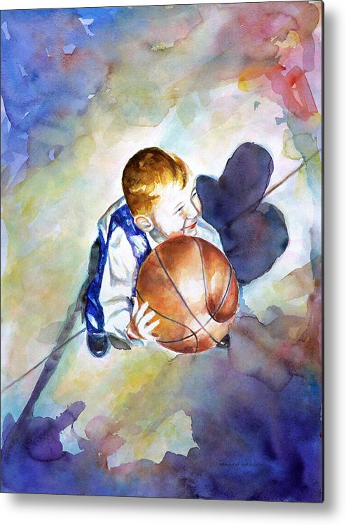 Watercolor Metal Print featuring the painting Loves the Game by Shannon Grissom