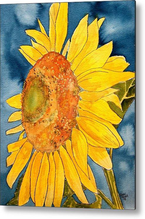 Sunflower Metal Print featuring the painting Macro Sunflower Art by Derek Mccrea