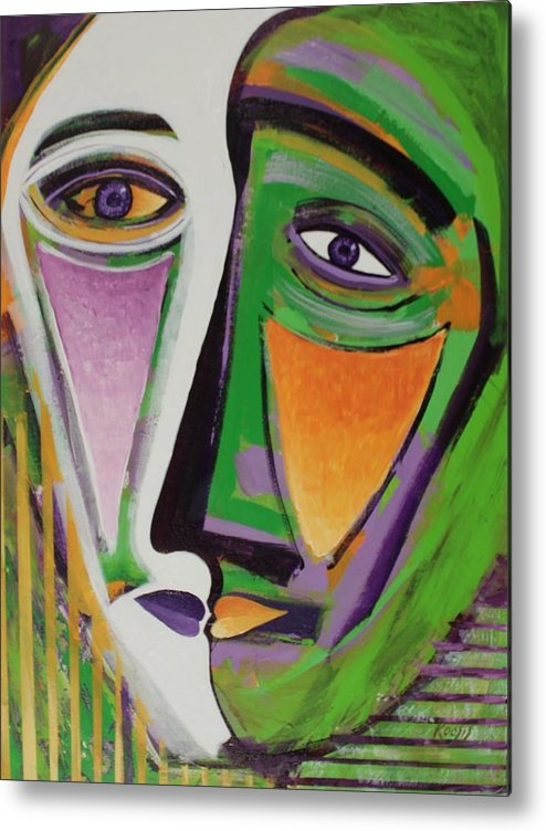 Profile Metal Print featuring the painting Missed Kiss by Rollin Kocsis