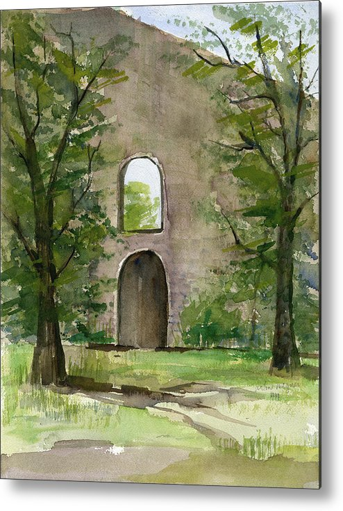 Mission Metal Print featuring the painting Mission Wall by Arline Wagner