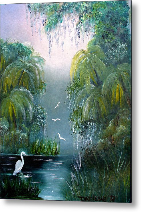 Morning Metal Print featuring the painting Misty Morning Swamp by Darlene Green