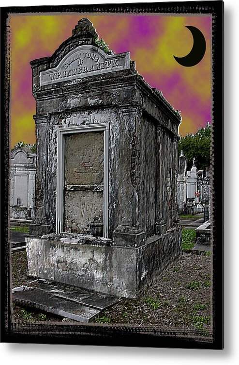 New Orleans Metal Print featuring the photograph Moonlit Cemetary by Linda Kish