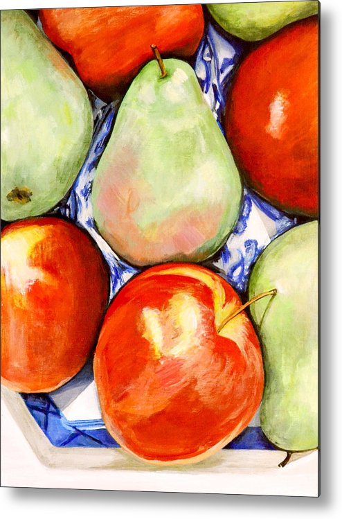 Apples Metal Print featuring the painting Morning Pears and Apples by Mary Chant