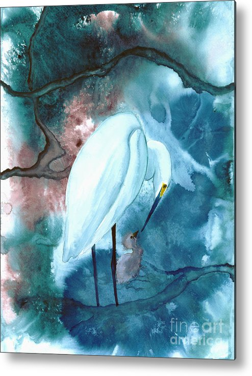 A Mother Egret With Her Chick- A Watercolor Painting Metal Print featuring the painting Mother And Child by Mui-Joo Wee