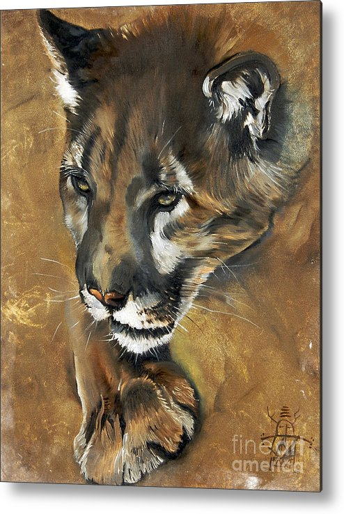 Southwest Art Metal Print featuring the painting Mountain Lion - Guardian of the North by J W Baker