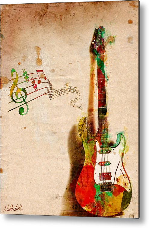 Guitar Metal Print featuring the digital art My Guitar Can SING by Nikki Smith