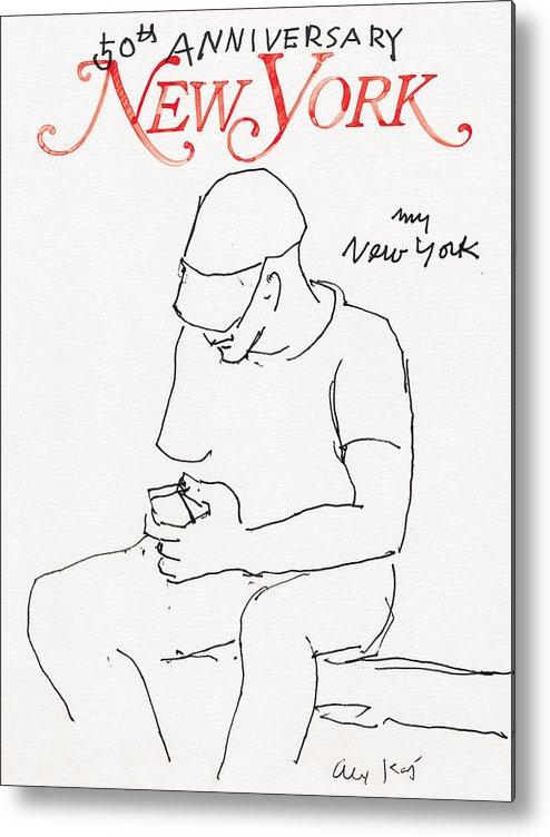 New York Magazine Metal Print featuring the drawing My New York by Alex Katz