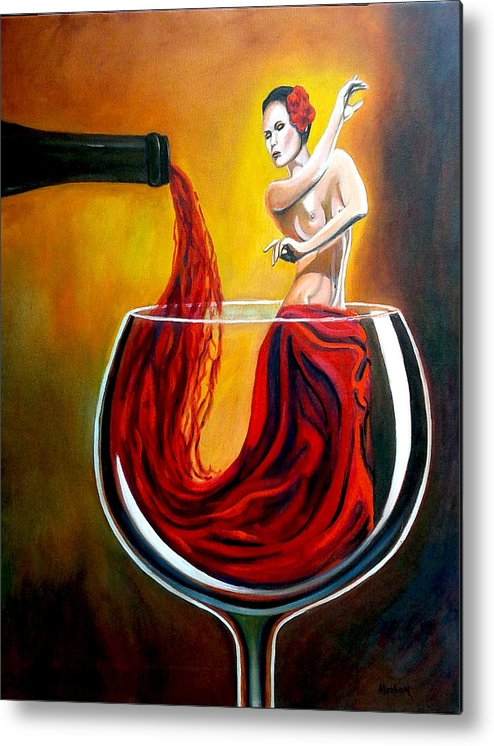 Wine Metal Print featuring the painting My Wine Lady by Jose Manuel Abraham