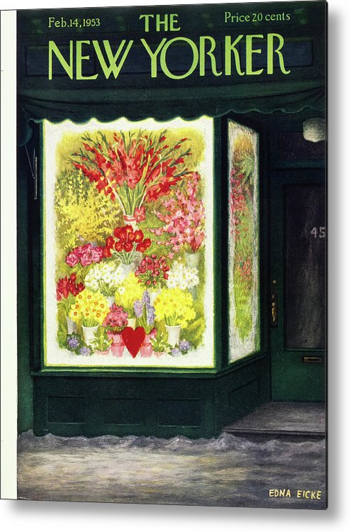 Flowers Metal Print featuring the painting New Yorker February 14 1953 by Edna Eicke