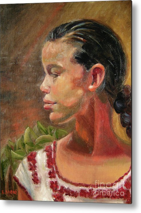 Mexico Metal Print featuring the painting Nina de Trenza by Lilibeth Andre