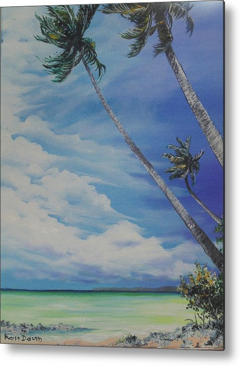 Trinidad And Tobago Seascape Metal Print featuring the painting Nylon Pool Tobago. by Karin Dawn Kelshall- Best