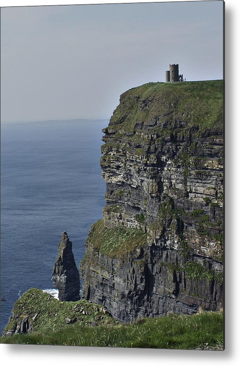 Irish Metal Print featuring the photograph O Brien's Tower at the Cliffs of Moher Ireland by Teresa Mucha