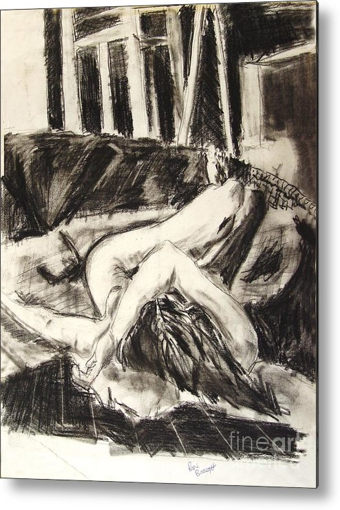 Inclined Nude Metal Print featuring the drawing On the Divan by Ron Bissett