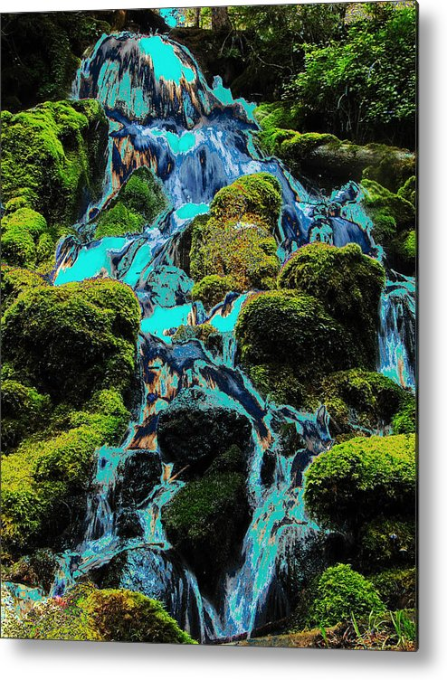 Green Metal Print featuring the photograph Paint Bucket Waterfall by Teri Schuster