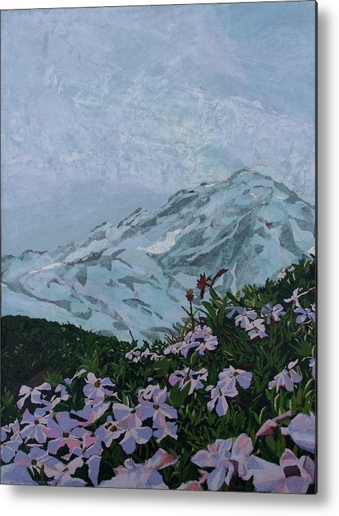 Landscape Metal Print featuring the painting Paradise Mount Rainier by Leah Tomaino