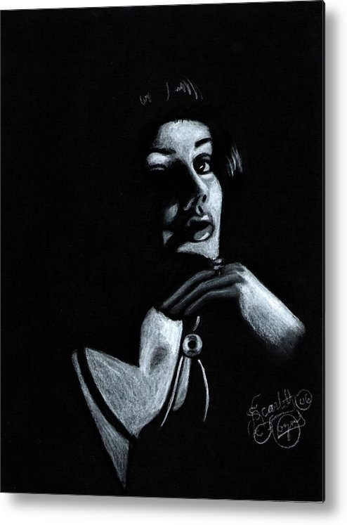 Portrait Metal Print featuring the drawing Persuasion by Scarlett Royal