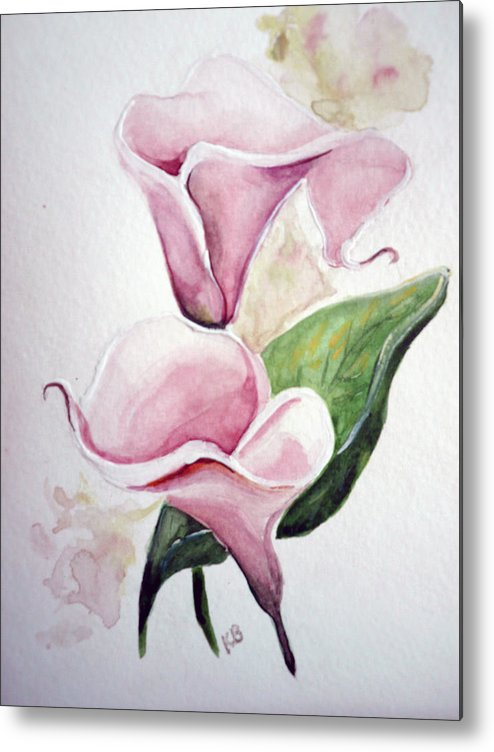 Botanical Painting Pink Paintings Calla Paintings Lily Paintings Flower Paintings Floral Paintings Flora Pink Flower Lily Metal Print featuring the painting Pink Callas by Karin Dawn Kelshall- Best
