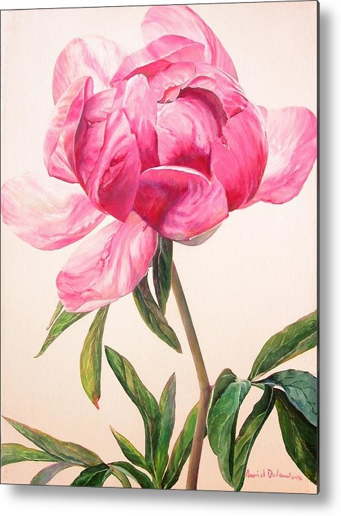 Floral Painting Metal Print featuring the painting Pivoine 1 by Muriel Dolemieux