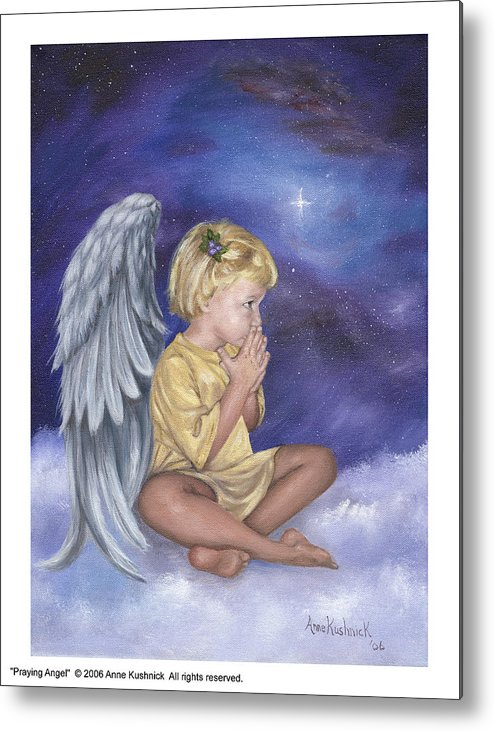 Christmas Metal Print featuring the painting Praying Angel by Anne Kushnick