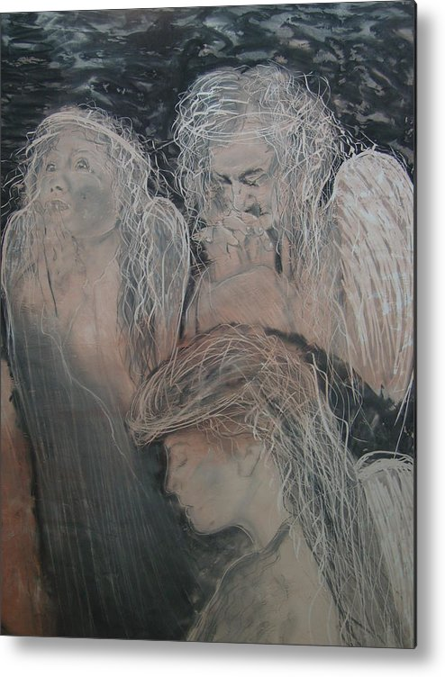 Angels Metal Print featuring the painting Praying for Daniel by J Bauer