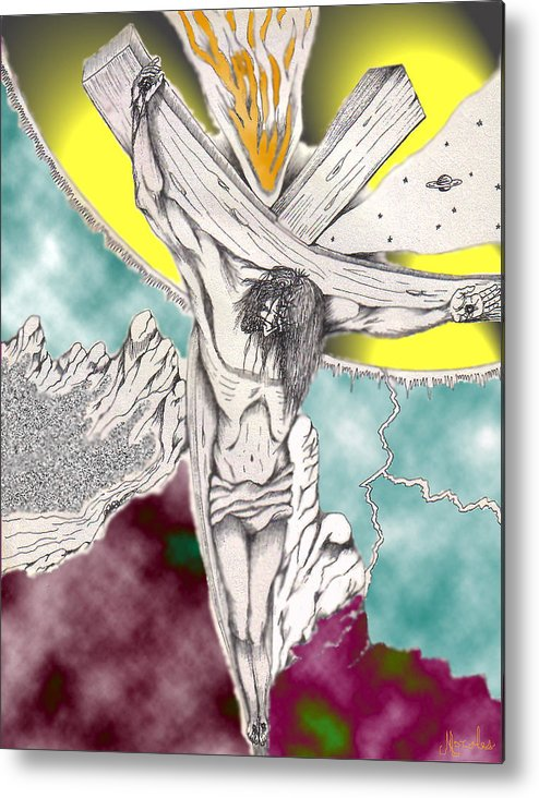 Spiritual Metal Print featuring the digital art Psalm 22 Ch 13-15... by Marco Morales