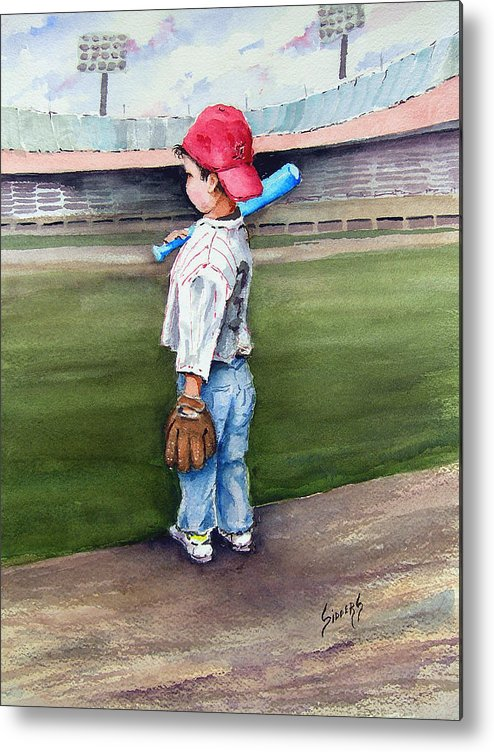 Baseball Metal Print featuring the painting Put Me In Coach by Sam Sidders