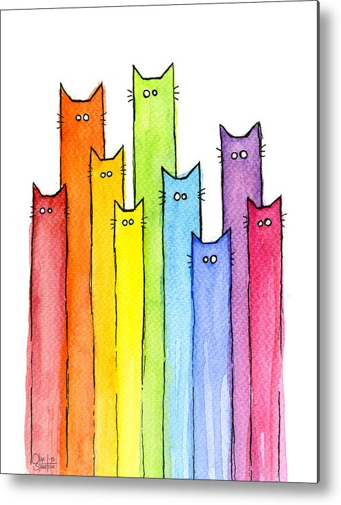 Watercolor Metal Print featuring the painting Rainbow of Cats by Olga Shvartsur