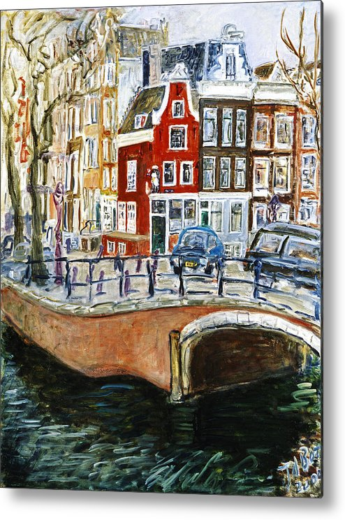Amsterdam Cityscape Canal Water House Bridge Metal Print featuring the painting Reguliersgracht by Joan De Bot