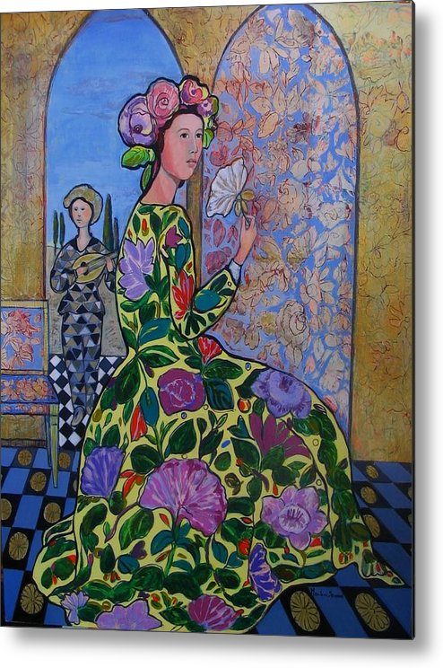 Remembering The Flower Door Metal Print featuring the painting Remembering The Flower Door by Marilene Sawaf