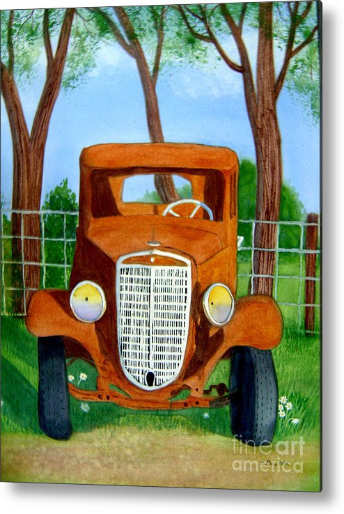 Car Metal Print featuring the painting Retired by Teresa Boston