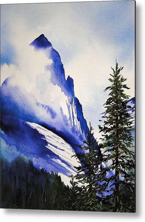 Rocky Mountains Metal Print featuring the painting Rocky Mountain High by Karen Stark