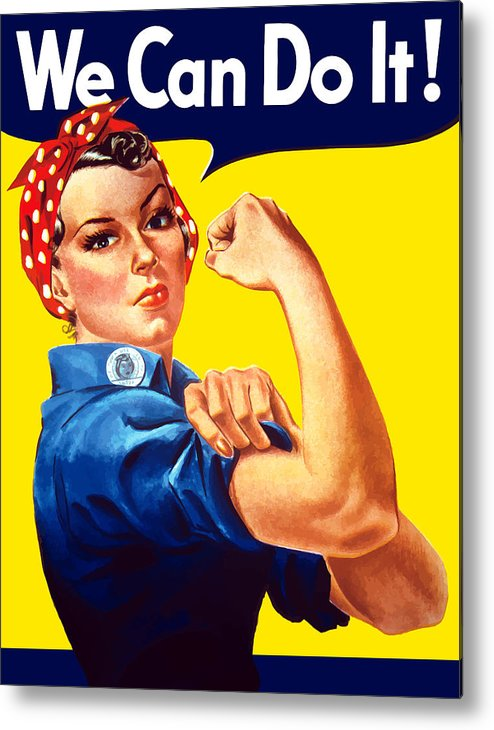 Rosie The Riveter Metal Print featuring the painting Rosie The Rivetor by War Is Hell Store