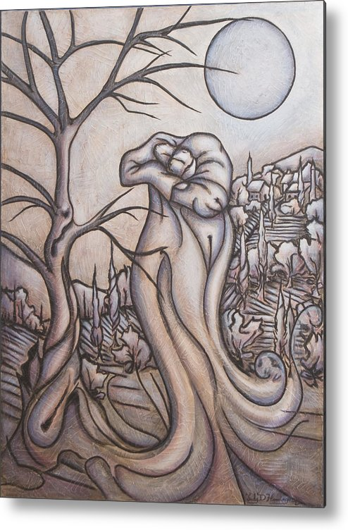 Dream. Moon Metal Print featuring the painting Secrets and Dreams by Judy Henninger