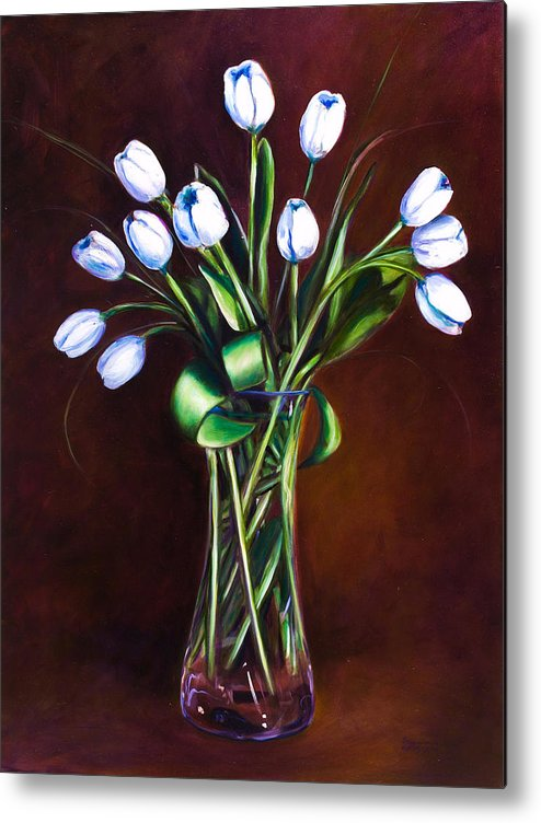 Shannon Grissom Metal Print featuring the painting Simply Tulips by Shannon Grissom