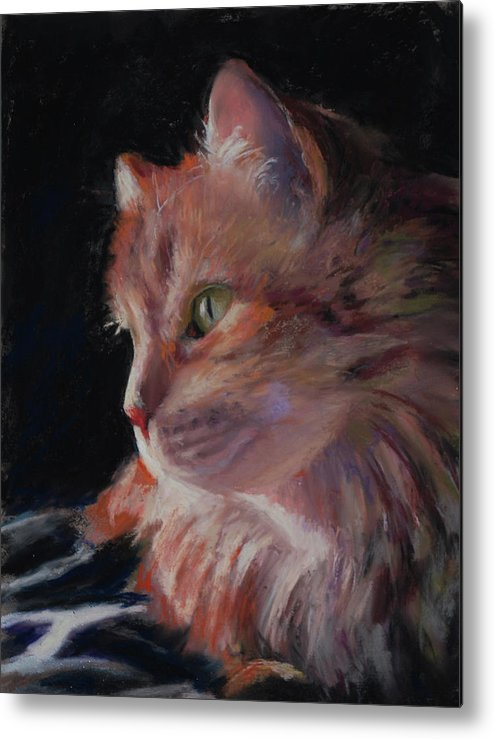 Long Haired Cat Metal Print featuring the painting Sitting Pretty by Billie Colson