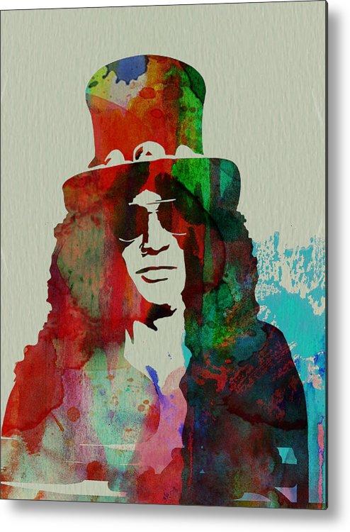 Guns N' Roses Metal Print featuring the painting Slash Guns N' Roses by Naxart Studio