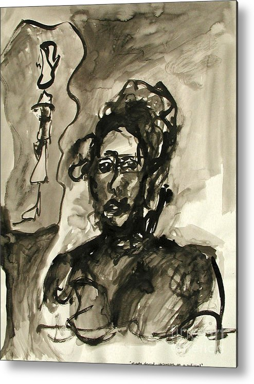 Ink Metal Print featuring the painting Slightly Obsessed With Someone On A Pedestal by Sarah Goodbread