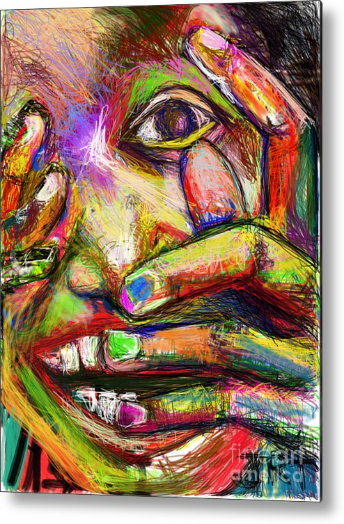 Fingers Metal Print featuring the painting So Happy and Fingers by James Thomas