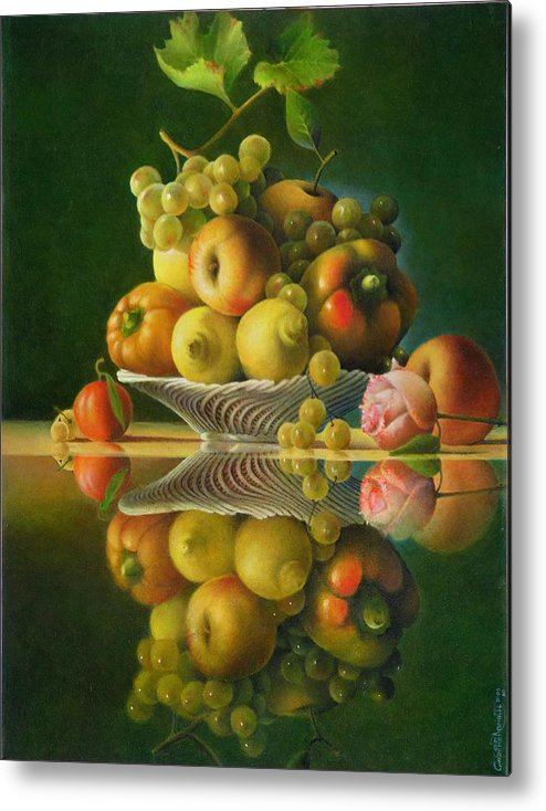 Still Life Metal Print featuring the painting Still Life with a Rose by Giuseppe Mariotti