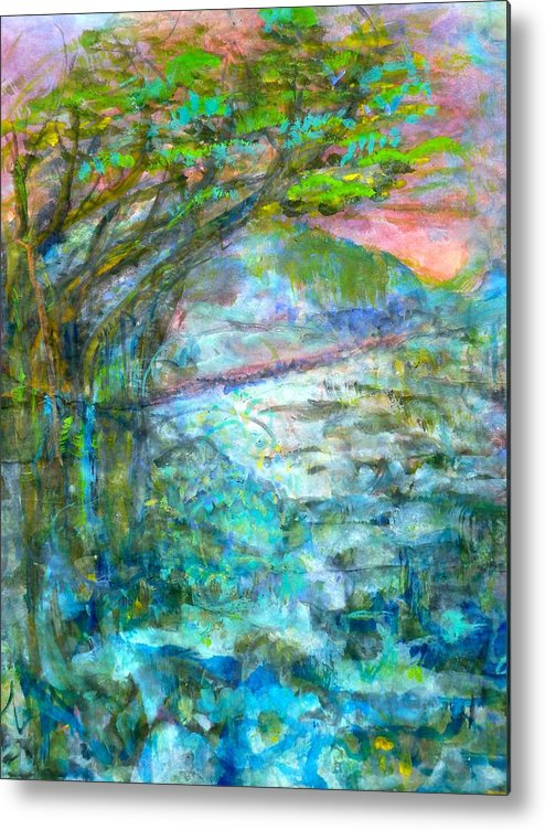 Splash Ink Watercolor Metal Print featuring the painting Stretching Cypress by Phoenix Simpson