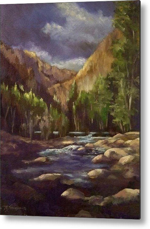 Mountain Stream Metal Print featuring the painting Summer Runoff by Ruth Stromswold