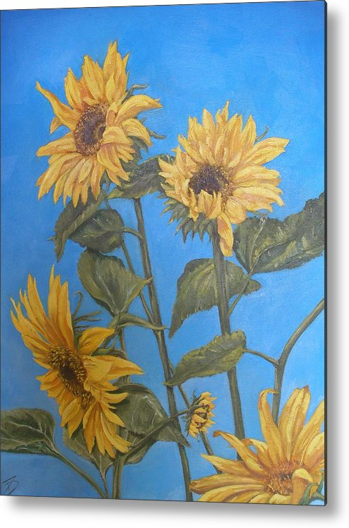 Sunflower Metal Print featuring the painting Sunflower by Travis Day