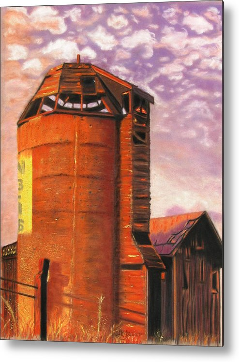 Americana Metal Print featuring the pastel Sunset Silo by Laura Gabel