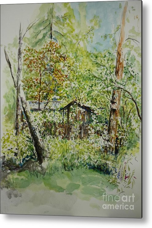Trees Metal Print featuring the painting Sweden Landscape 1 by Lizzy Forrester