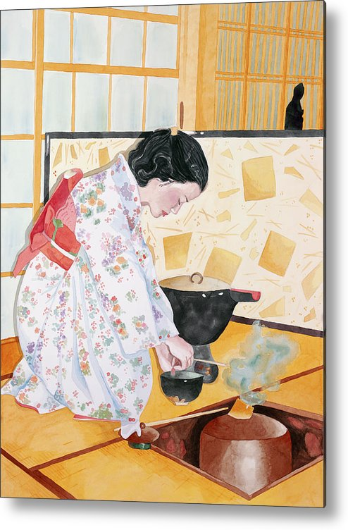 Japanese Woman Performing Tea Ceremony Metal Print featuring the painting Tea Ceremony by Judy Swerlick