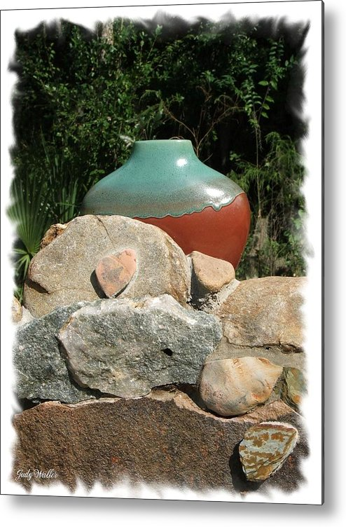 Landscape Metal Print featuring the photograph Teal and Brown Clay Pot by Judy Waller