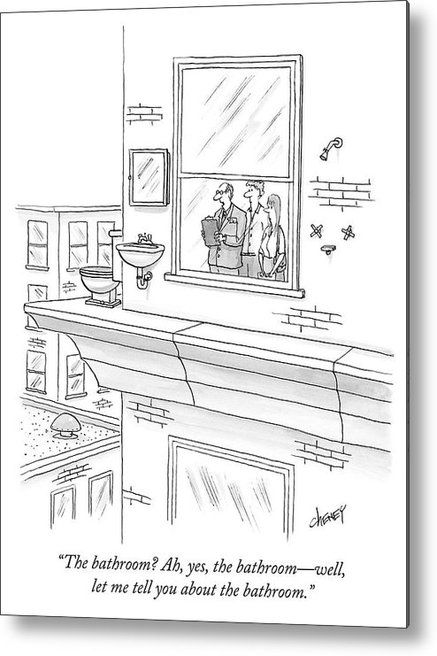 """""""the Bathroom? Ah Metal Print featuring the drawing The bathroom by Tom Cheney"""