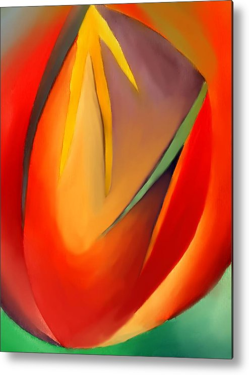 Abstract Metal Print featuring the painting The Cave by Peter Shor