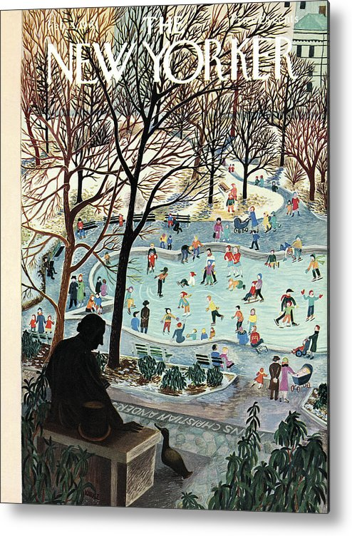 Ilonka Metal Print featuring the painting The New Yorker Cover - February 4th, 1961 by Ilonka Karasz